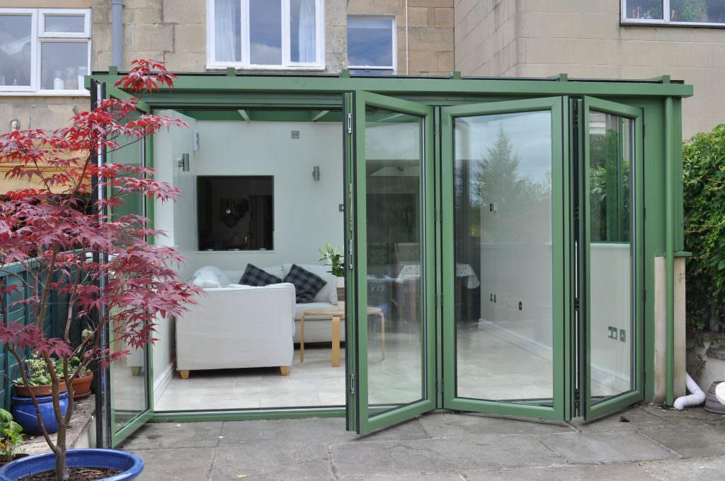 open green Aluminium Bi-Fold Doors