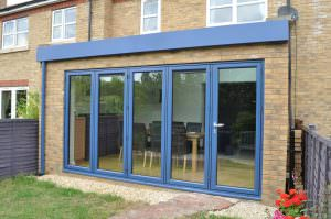 closed blue Aluminium Bi-Fold Doors