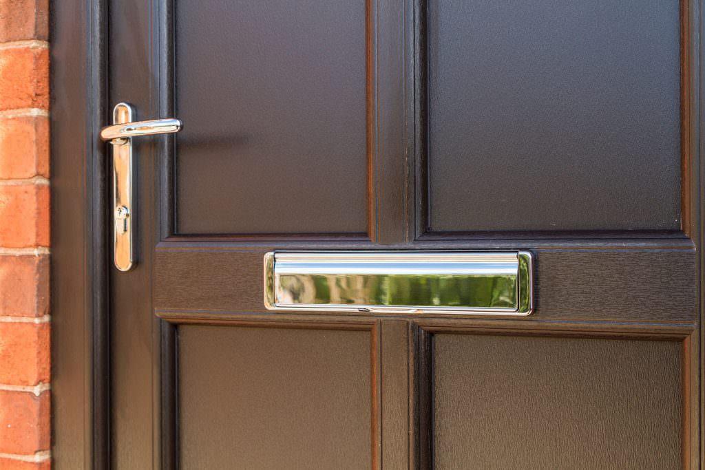 Black StyleLine Door handle and letterbox